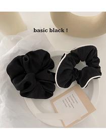 Fashion Black Bordered Solid Color Large Intestine Circle Hair Rope Set