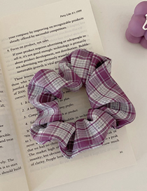 Fashion Purple Grid Lattice Bow Bow Large Intestine Circle Hair Rope
