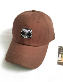 Fashion Brown Cat Embroidered Sun Protection Sunshade Cap