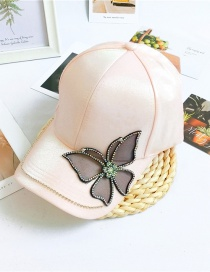 Fashion Butterfly Pink Letter Cap With Diamond Butterfly Flowers