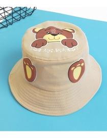 Fashion Beige Bear Print Kids Fisherman Hat
