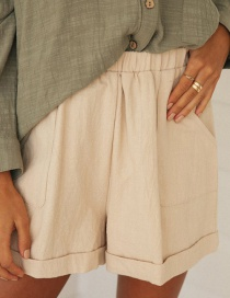 Fashion Beige Straight Loose High Waist Five-point Shorts