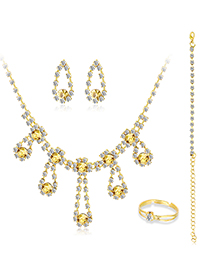 Fashion Kc Gold 5-piece Alloy Diamond Necklace Earrings Ring And Bracelet
