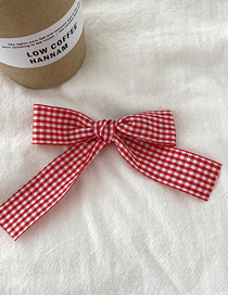 Fashion Red Checked Bowknot Fabric Hairpin