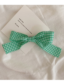 Fashion Green Checked Bowknot Fabric Hairpin
