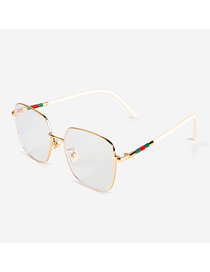 Fashion White Anti-blue Square Metal Flat Glasses