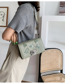 Fashion Green Emblem Diamond Chain Shoulder Messenger Bag