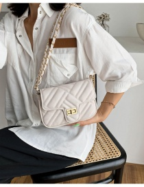 Fashion Off-white Chain Rhomboid Lock Crossbody Shoulder Bag