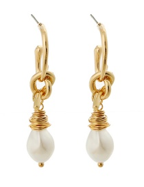 Fashion Golden Knotted Hand-wrapped Pearl Earrings
