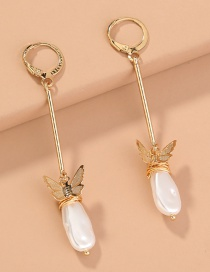 Fashion Golden O-shaped Butterfly Shaped Alloy Pearl Earrings