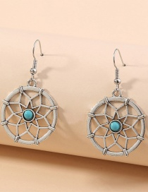 Fashion Silver Hollow Sunflower Round Alloy Earrings