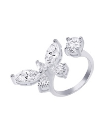 Fashion White K Diamond Butterfly Alloy Open Ring
