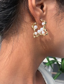 Fashion Golden Geometric Irregular Earrings With Pearls