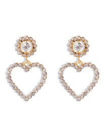 Fashion White Diamond Diamond Pearl Love Alloy Flower Earrings