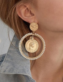 Fashion Golden Pearl Round Portrait Embossed Alloy Earrings