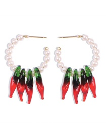 Fashion Red Pearl Resin Pepper Alloy Earrings