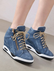 Fashion Blue Denim Inner Raised Side Zipper Lace-up Ankle Boots