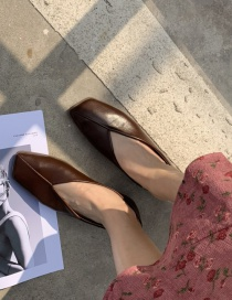 Fashion Brown Flat Square Toe Soft Leather Shoes