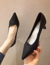 Fashion Black Slim Mid-heel Pointed Toe Solid Color Shoes