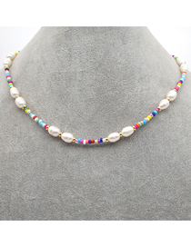 Fashion Color Mixing Natural Pearl Rice Bead Woven Necklace