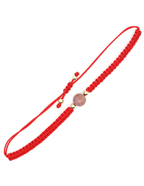 Fashion Pink Natural Stone Round Hand-woven Adjustable Bracelet