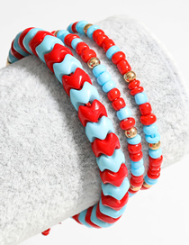 Fashion Red And Blue Resin Rice Bead Woven Retractable Adjustable Bracelet