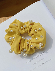 Fashion Yellow Pearl Fabric Solid Color Large Intestine Ring Hair Rope
