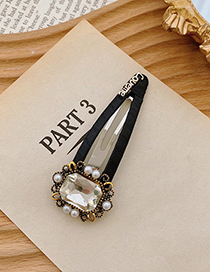 Fashion White Geometric Alloy Hairpin With Pearls And Rhinestones
