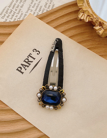 Fashion Sapphire Geometric Alloy Hairpin With Pearls And Rhinestones
