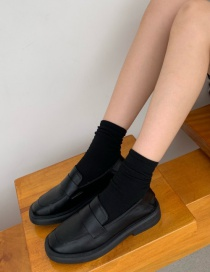 Fashion Black Platform Shoes With Thick Heels And Square Toe Solid Color Shoes