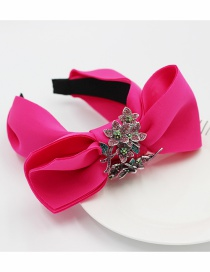 Fashion Red Fabric Bow-knot Flower-studded Wide-brimmed Headband