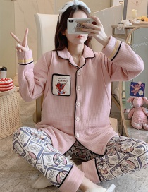 Fashion Mickey Mouse Thickened Quilted Layer Printed Confinement Wear Nursing Pajamas Set