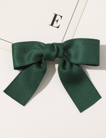 Fashion Hairpin-dark Green Satin Bowknot Fabric Pure Color Hair Rope Hairpin