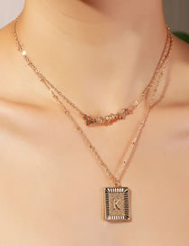 Fashion Golden Letter Geometry Alloy Multilayer Necklace