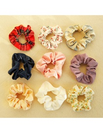 Fashion Flower And Moon [9-piece Set] Floral Plaid Print Hit Color Large Intestine Circle Hair Rope Set