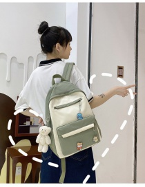 Fashion Green Send Pendant Stitching Contrast Badge Backpack