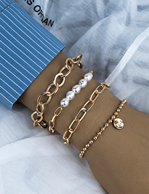 Fashion Gold Color Alloy Chain Pearl Multilayer Bracelet