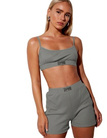 Fashion Gray Sling Sling Collar Small Vest High Waist Bag Hip Shorts Suit