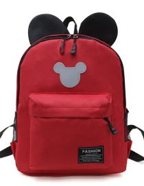 Fashion Red Mickey Stitching Nylon Fabric Contrast Color Childrens Backpack