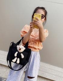 Fashion Black Canvas Bear Cross Shoulder Bag