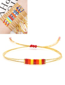 Fashion Red+yellow Hand-beaded Hit Color Adjustable Bracelet