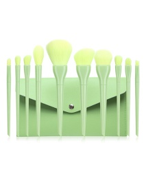 Fashion 10 Plain Green Belt Bags Plastic Makeup Brush Set With Bag