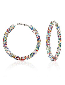 Fashion Color Geometric Round Alloy Earrings With Diamonds