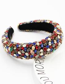 Fashion Color Mixing Rhinestone-studded Geometric Sponge Broad-edged Headband