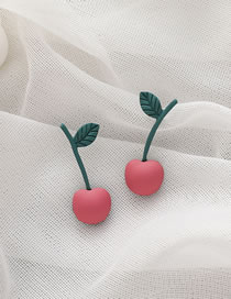Fashion Cherry Tulip Flower Cherry Alloy Earrings