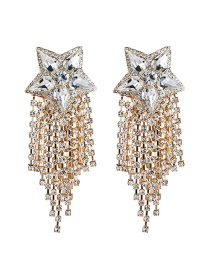 Fashion Gold Color Diamond Five-pointed Star Tassel Alloy Earrings