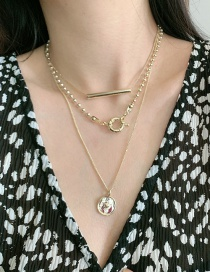 Fashion Gold Color Round Alloy Word Multi-layer Necklace