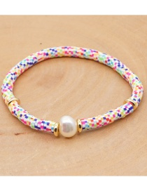 Fashion Color Mixing Natural Pearl Geometric Woven Soft Ceramic Alloy Bracelet