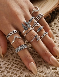 Fashion Silver V-shaped Totem Wings Triangle Moon Love Leaf Ring Set