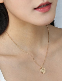 Fashion Golden Disk Hollow Skylight Star Alloy Pendant Necklace